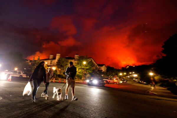 A wildfire burning in the Pacific Palisades area of Los Angeles this month.