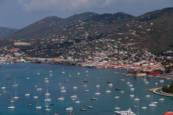 Boats moored along the waters of St. Thomas. Tourism to the U.S. Virgin Islands is booming.