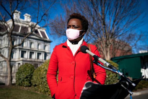 Karine Jean-Pierre, the principal deputy press secretary for the White House, spoke to reporters in January.