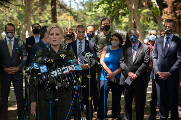 Sheriff Laurie Smithof Santa Clara County speaking at a news conference next to the Valley Transportation Authority rail yard on Wednesday.