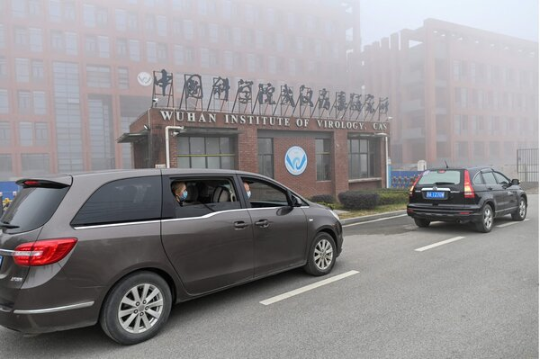 Members of a World Heath Organization team arriving at the Wuhan Institute of Virology in Wuhan, China, in February.