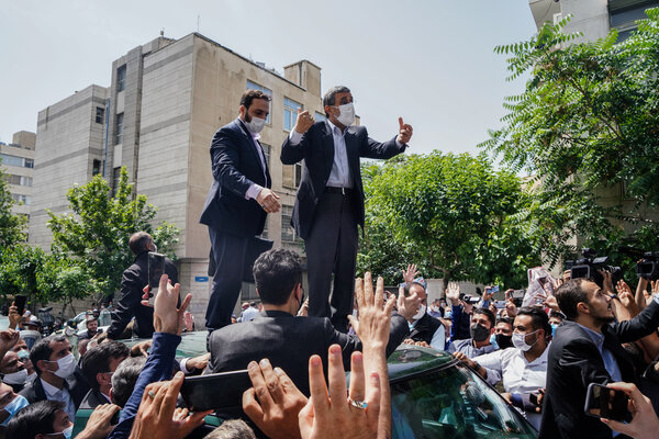 Former President Mahmoud Ahmadinejad addressing supporters in Tehran in May. Mr. Ahmadinejad, who was disqualified from running again, said he would not vote and slammed the Guardian Council.