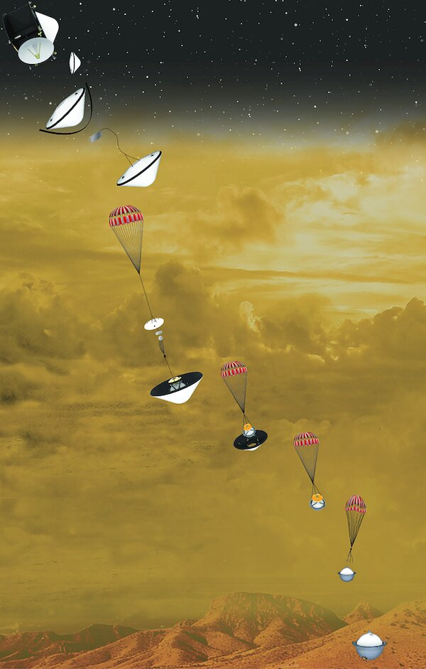 An artist's concept of the NASA DAVINCI+ probe descending in stages to Venus's surface.