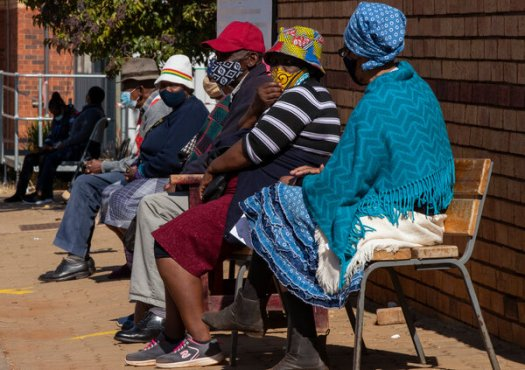 South African retirees waiting to receive doses of Covid vaccine at a clinic near Johannesburg, South Africa, last week.