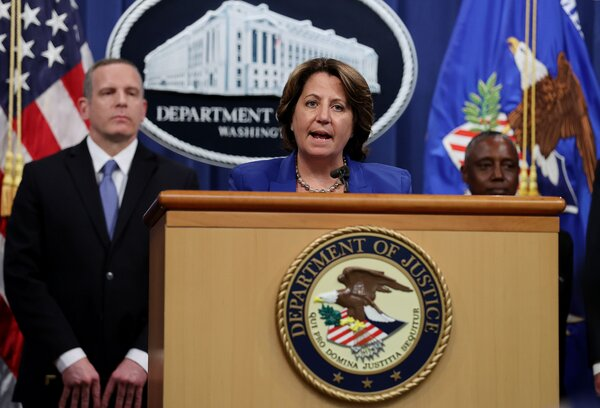 Deputy U.S. Attorney General Lisa Monaco, center, announcing the recovery of part of the Colonial Pipeline ransom on Monday.