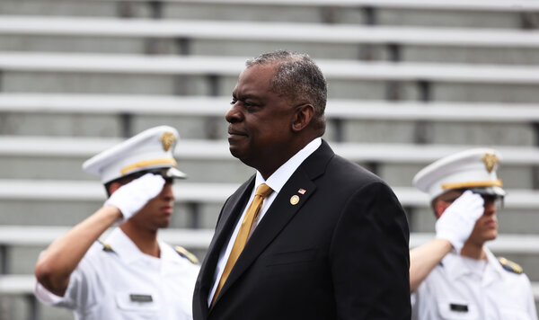 Secretary of Defense Lloyd J. Austin III at the 2021 West Point commencement ceremony in Michie Stadium in May.