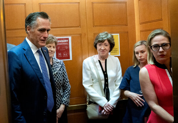 The bipartisan group of senators hashing out an infrastructure deal includes, from left, Senators Mitt Romney, Republican of Utah; Jeanne Shaheen, Democrat of New Hampshire; Susan Collins, Republican of Maine; and Kyrsten Sinema, Democrat from Arizona.