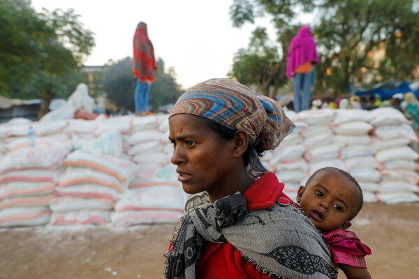 A food distribution line at a school in Shire, in Ethiopia's Tigray region in March.