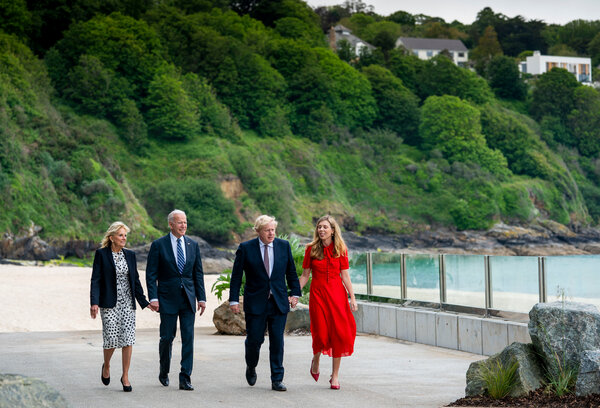 President Biden with the first lady, Dr. Jill Biden, and Prime Minister Boris Johnson of Britain with his wife, Carrie Symonds, on Thursday in Carbis Bay.