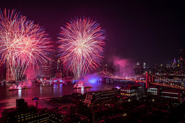 Macy's annual fireworks display in 2019. The show is returning this year to its pre-pandemic levels of pyrotechnics for this July 4.