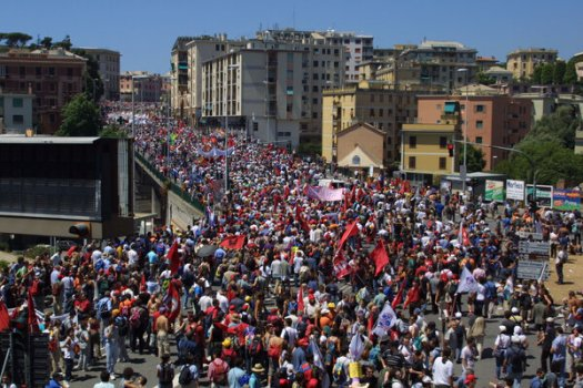 Protesters in Genoa, Italy, during the 2001 summit, when the diplomatic gathering was known as the Group of 8 and also included Russia.