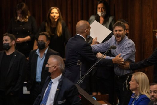 Betzalel Smotrich, a right-wing Israeli politician, shouting during the Knesset session in Jerusalem on Sunday.