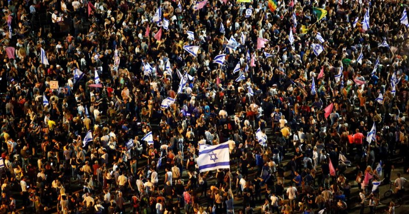 Netanyahu Opponents Celebrate at Tel Aviv Rally