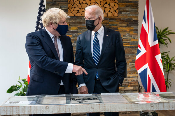 Prime Minister Boris Johnson of Britain, left, and President Biden in Cornwall, England, last week where they renewed the Atlantic Charter.