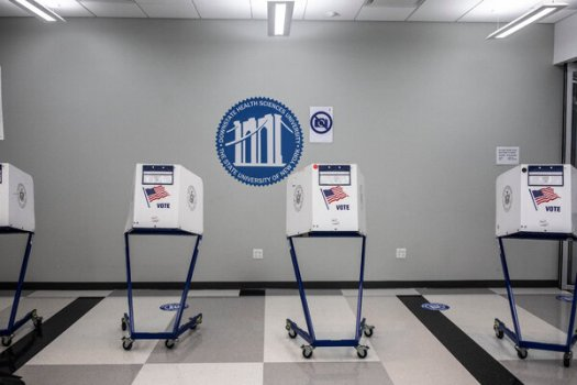 An early voting site was set up at SUNY Downstate Medical Center in Brooklyn on Wednesday. Vaccines will be available for voters there over the weekend.