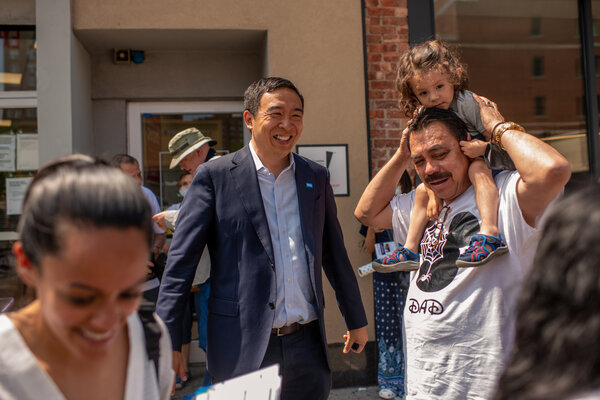 Andrew Yang greeting New Yorkers in Forest Hills on Sunday.