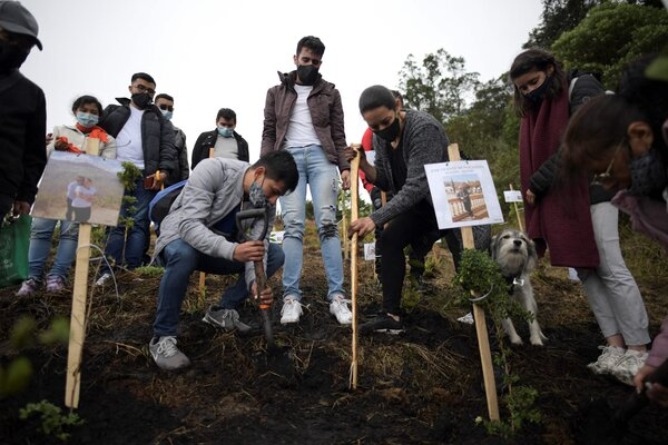 Relatives of Covid-19 victims spread their ashes at the natural reserve of Paramo de Guerrero in Cogua municipality, near Bogota on Monday.