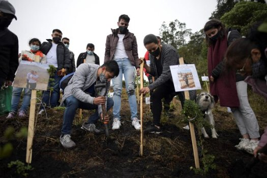 Relatives spreading the ashes of family members who died from Covid-19, at the nature reserve of Páramo de Guerrero in Cogua municipality, Colombia, on Monday.