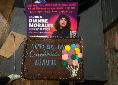 A birthday cake at Dianne Morales's election party in Bedford-Stuyvesant, Brooklyn.