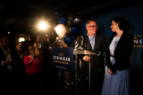 Scott M. Stringer and wife, Elyse Buxbaum, at his campaign celebration party Tuesday at The Ribbon, on the Upper West Side.