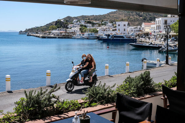 The main port area in Patmos, Greece in May.
