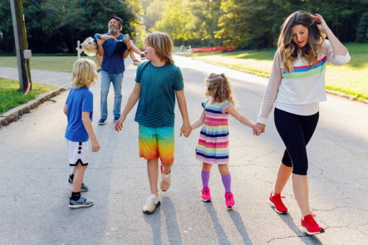 Sara Blakely, right, the Spanx founder, with her family in 2020.