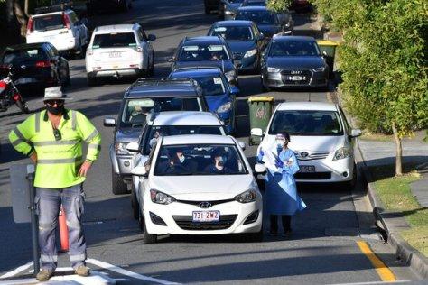 A drive-through coronavirus testing site in Brisbane, Australia, on Tuesday.
