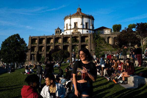 Gaia, Portugal, a popular tourist destination. Nighttime curfews in the country start on Friday.