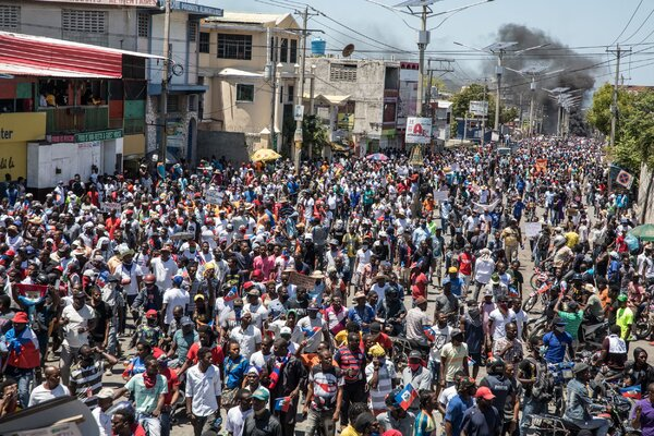 Protesting in Port-au-Prince in March.