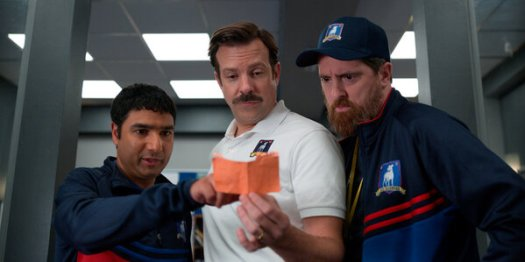 """The Apple TV+ series """"Ted Lasso,"""" starring from left, Nick Mohammed, Jason Sudeikis and Brendan Hunt, is considered a lock for a best comedy nomination."""