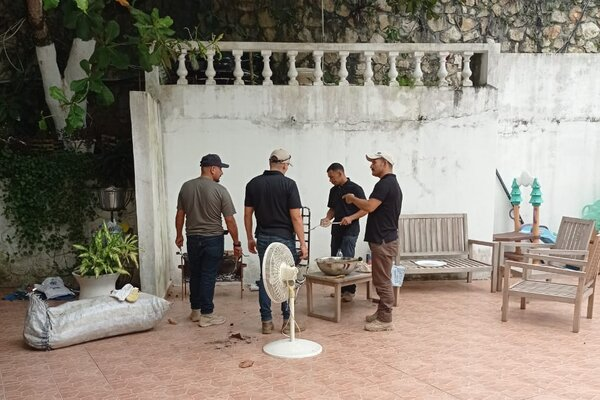 A group of the Colombian ex-soldiers at their compound in Haiti in the days before the assassination of the Haitian president.