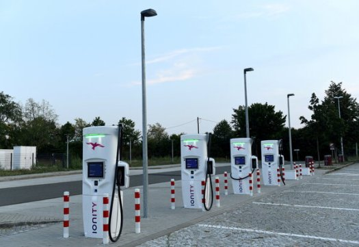 An Ionity electric vehicle charging station near Dresden, Germany.The European Union's network of charging stations is concentrated in Germany, France and the Netherlands.