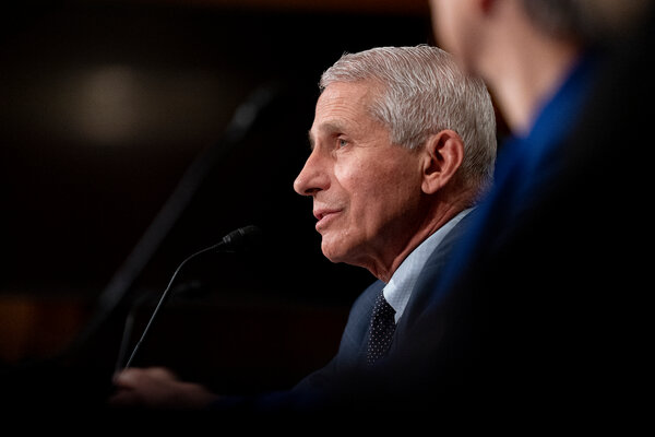 Dr. Anthony S. Fauci, director of the National Institute of Allergy and Infectious Diseases, addresses a Senate committee hearing on Tuesday.