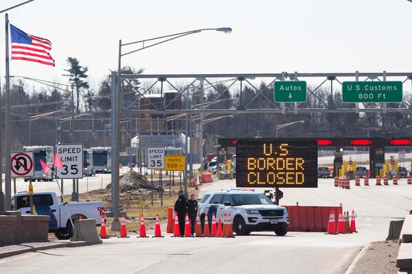 The Department of Homeland Security announced that U.S. land borders with Canada will remain closed to nonessential travelers, as they have been since March 2020, when customs officers guarded the border between the United States and Ontario.