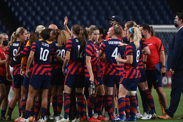 The U.S. women's national team celebrated its lone victory so far in the Tokyo Games, over New Zealand last weekend.