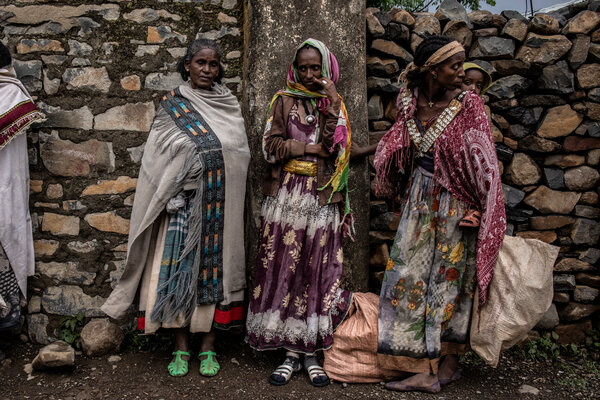 Women in the town of Gijet in Tigray last month.