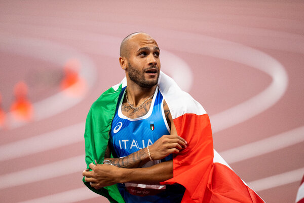 Lamont Marcell Jacobs, who was born in El Paso but moved to Italy as a baby, after winning the 100-meter dash with a time of 9.80 seconds.