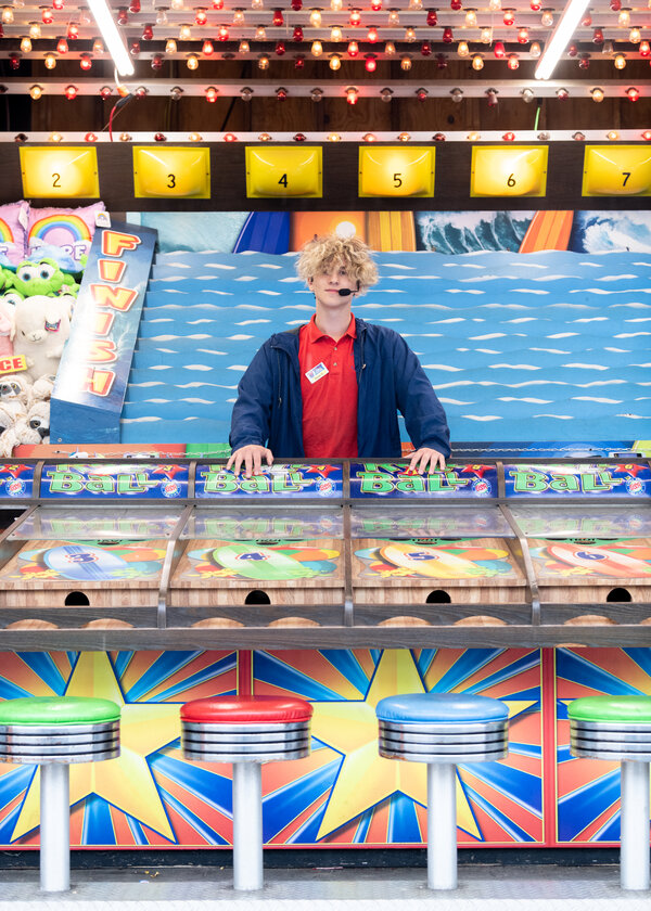 """Kyan Chase, 15, works at Palace Playland in Old Orchard Beach. Of the labor shortage, he said: """"It's pretty good for me. I can get a job anywhere I want."""""""