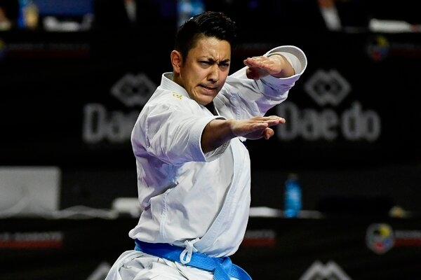 Ryo Kiyuna competing at the karate world championships in Madrid in 2018.
