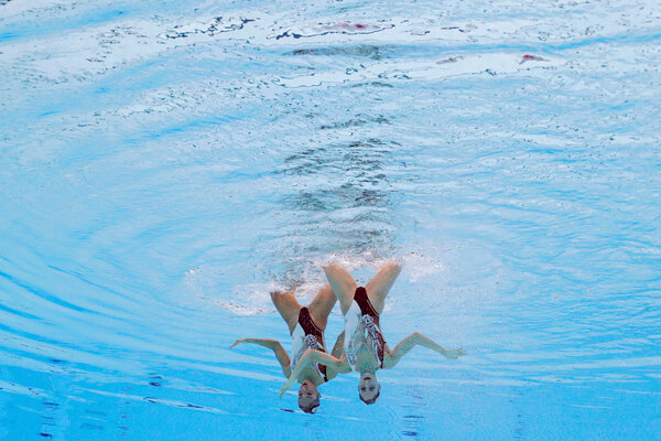 Mexico's artistic swimming duet performing on Wednesday in Tokyo.