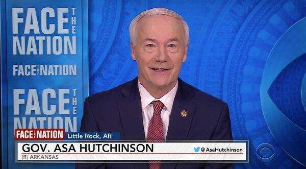"Arkansas Gov. Asa Hutchinson on the CBS program ""Face the Nation"" on Sunday."