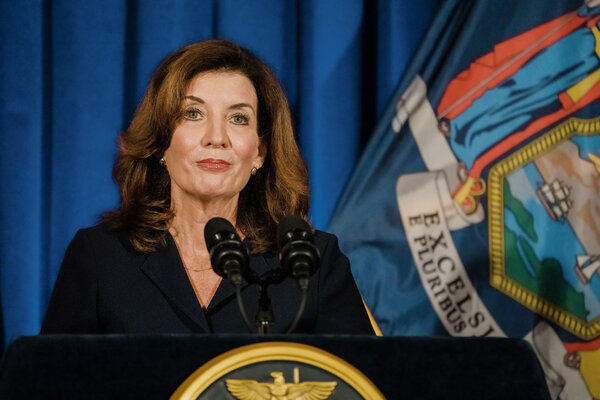 Kathy Hochul, the lieutenant governor who will succeed Andrew M. Cuomo once his resignation goes into effect, speaking at the State Capitol in Albany on Wednesday.