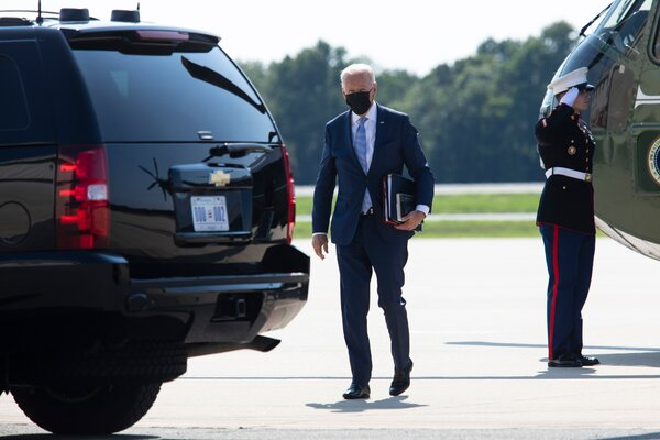 President Biden in New Castle, Del., on Thursday. The Biden administration is bracing for a possible collapse of the Afghan government within the next month.