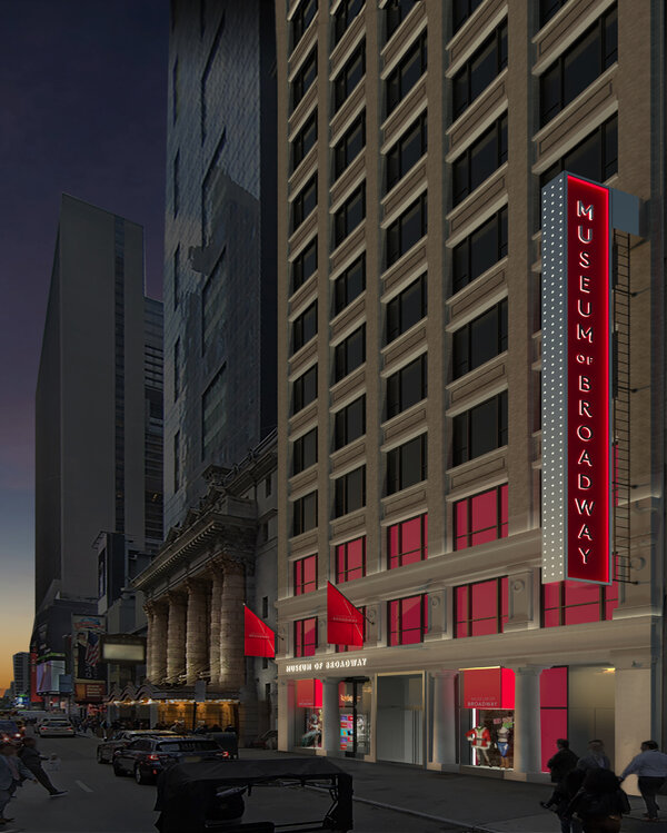 A rendering of the Museum of Broadway, which is scheduled to open next summer on West 45th Street.