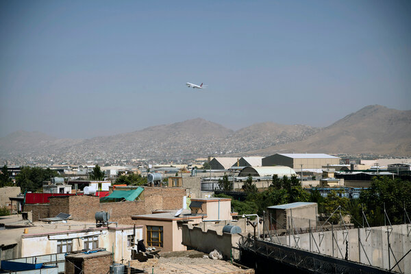 A Turkish Airlines airplane taking off from Hamid Karzai International Airport 2 weeks ago, one of the last commercial flights to leave Kabul.