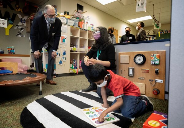 Gov. Jay Inslee of Washington visited a special education classroom at Phantom Lake Elementary School in Bellevue in March.
