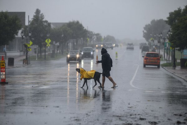 Rain falls in Montauk as Tropical Storm Henri approaches.