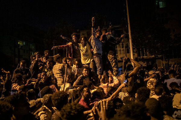 Celebrating the departure of Ethiopian government forces and the arrival of Tigrayan rebels in June in Mekelle.