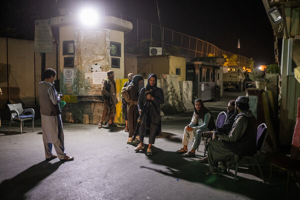 Members of the Taliban at a checkpoint last week in Kabul.