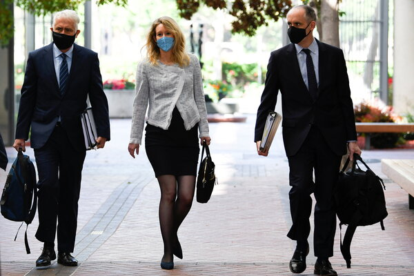 Elizabeth Holmes arrives for a court hearing in May. Jury selection in her trail starts on Tuesday.